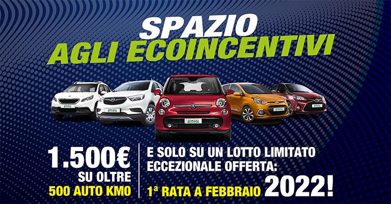 Spazio agli Ecoincentivi Per te <strong>1.500€ di bonus</strong> su oltre 500 vetture <strong>km0</strong> e prima rata a Febbraio 2022!
